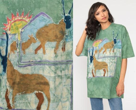 Tie Dye Shirt 90s African Antelope Shirt Animal T Shirt Green Wildlife Shirt Graphic TShirt Hippie Fruit of the loom Extra Large xl l