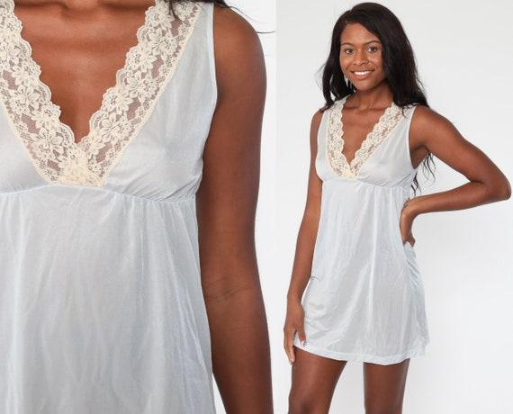 Pastel Lingerie Nightgown Ice Blue LACE Babydoll Slip Dress 70s Baby Blue Sheer Nylon Mini Deep V Neck Vintage Empire Waist Small