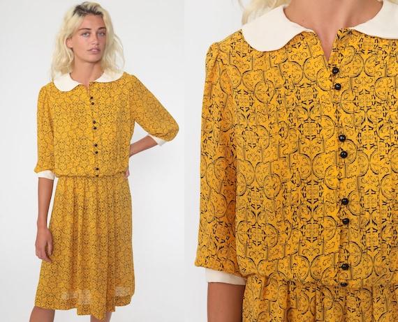 Puff Sleeve Dress Yellow Geometric Dolly Collar 80s Secretary Dress Midi Vintage Peter Pan Collar Dress Button Up Medium