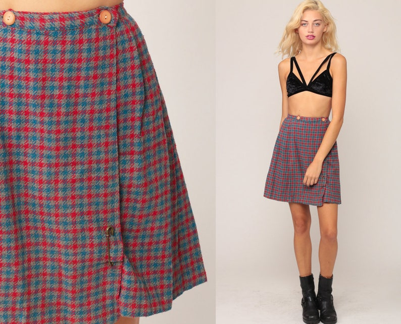 1871aa573 School Girl Skirt Plaid WOOL Mini Pleated Tartan High Waisted | Etsy