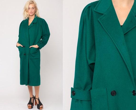 Green Wool Jacket 80s Long Coat Puff Sleeve Winter Coat Pea Coat Vintage Peacoat Bohemian Double Breasted 1980s Small Medium