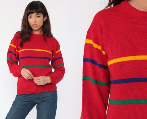 Primary Color Sweater Pullover Red Striped Sweater 80s Knit Sweater Slouch Hipster 1980s Jumper Vintage Pullover Retro Small