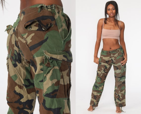 Army Pants Camo CARGO Pants 80s Military High Waisted Combat Olive Green Camouflage 1980s Vintage Punk Grunge Olive Drab Army Medium 32