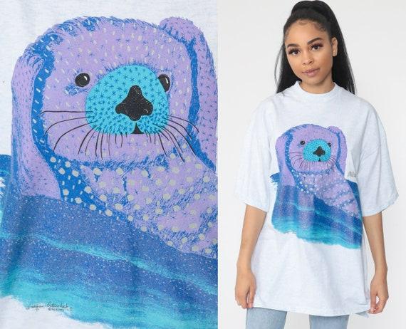 Sea Otter Shirt Alaska Animal Tshirt 90s Animal Shirt Retro Tee Ocean Sea Life Vintage Graphic T Shirt Single Stitch Extra Large xl l