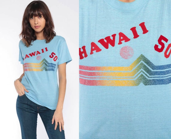 Vintage Hawaii TShirt 80s Hawaii 50 Shirt Beach 1980s Graphic T shirt Retro Tee Tropical Thin Vintage Blue Small xs