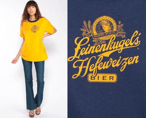 Beer Shirt Ringer Tee Shirt Leinenkugel Hefeweizen TShirt 80s T Shirt REVERSIBLE Graphic Shirt Hipster Retro Tee Vintage Blue Large