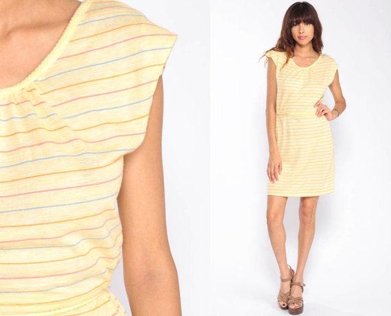 39772e22f3 Yellow Mini Dress 70s Stripe Dress CRISS-CROSS 80s Boho Keyhole High  Waisted Retro Keyhole