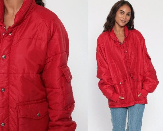 Puffy Jacket 70s Retro Red Ski Jacket 80s Puffer Coat Warm Jacket Snap Up 1970s Vintage Puff Winter Coat Sportswear Skiwear Men's Large xl