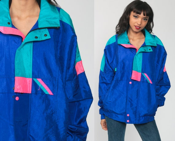 90s Windbreaker Jacket Shiny Neon Windbreaker Bright Blue Hot Pink Jacket Geometric Graphic Windbreaker Vintage 1990s Medium Large