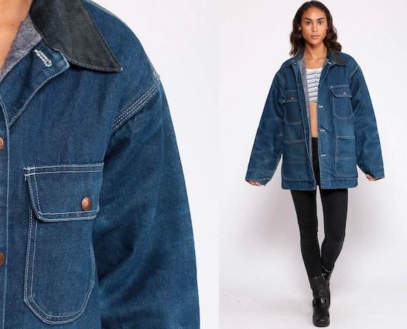 Denim Jacket 80s Jean Jacket Boho Blue Cargo Jacket BLANKET LINED Trucker Big Mac Vintage Bohemian 1980s Hipster Button Up Extra Large xl