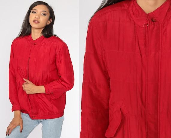 Red Silk Jacket Windbreaker Jacket 1980s Retro 80… - image 1