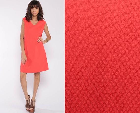 70s Mini Dress Mod Neon Orange Minimalist Retro 60s Shift Vintage V Neck Sleeveless Gogo Hipster Twiggy Plain V Neck Minidress Medium
