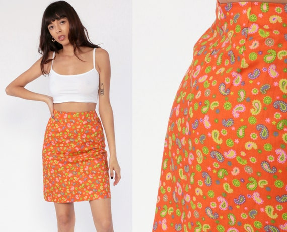 Floral Pencil Skirt 70s Mini Skirt Paisley High Waisted Wiggle Flower Power Orange Retro Vintage Mod Hippie Boho Summer Extra Small xs 0