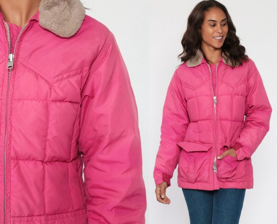 Pink Puffer Coat Retro Ski Jacket FAUX FUR COLLAR 70s Puffy Quilted Down Parka Jacket Retro 1970s Vintage Puff Winter Warm Extra Small xs