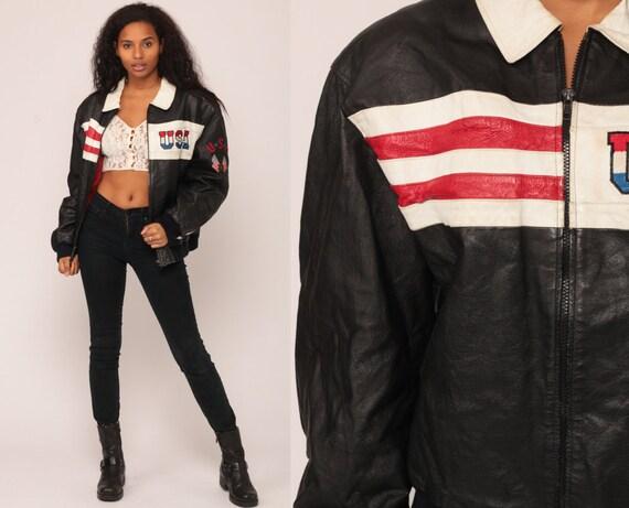 Leather Biker Jacket USA Jacket 80s American Flag Black LEATHER Biker Jacket Motorcycle Bomber Moto 1980s Vintage Moto Large
