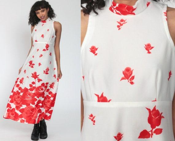 Red Rose Dress Mock Neck Boho Dress Hippie Maxi 70s Floral Print White 1970s Party Bohemian Vintage Empire Waist Sleeveless Choker Medium