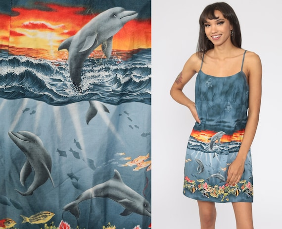 Hawaiian Dolphin Dress Sun 90s Mini Floral Tropical Fish Sundress Summer Dress Vintage 1990s Sleeveless Sheath Minidress Medium Large