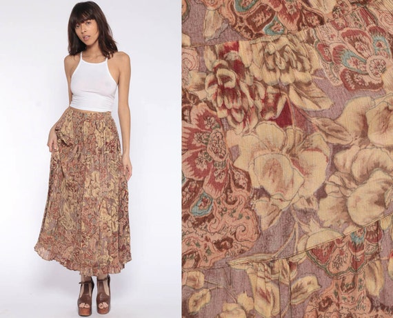 Floral Skirt Boho Hippie Rayon Skirt 90s Maxi Bohemian Skirt Vintage Broomstick Skirt Gypsy Festival Skirt Earth Tones Extra Small xs s