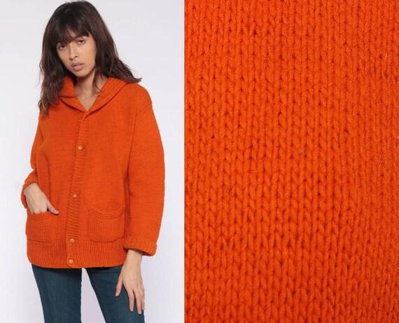 Orange Wool Sweater -- Grandma Cardigan Boho Sweater Plain Button Up 80s Grunge Slouchy Knit Vintage Oversize Medium