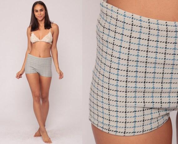 Bikini Bottoms Swim Shorts PLAID 70s Bathing Suit High Waisted Shorts Print Mod Boyshort HOT PANTS Swim Vintage Hotpants Small