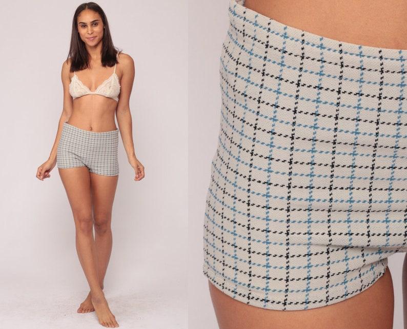 34240f115eb23 Bikini Bottoms Swim Shorts PLAID 70s Bathing Suit High Waisted | Etsy