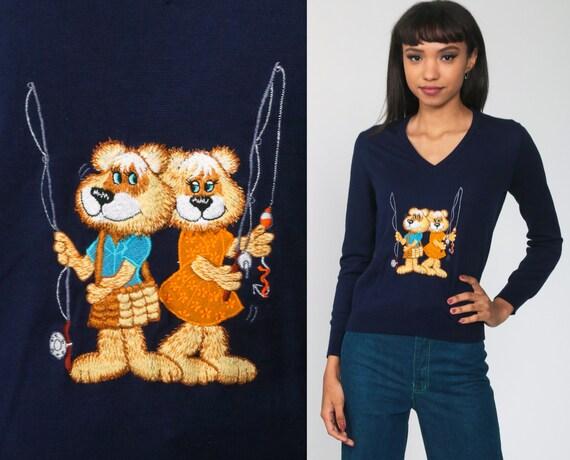 70s Bear Sweater Vintage 80s Fishing Animal Sweater Navy Blue Novelty Kawaii Sweater V Neck Pullover 80s Boho Extra Small xs