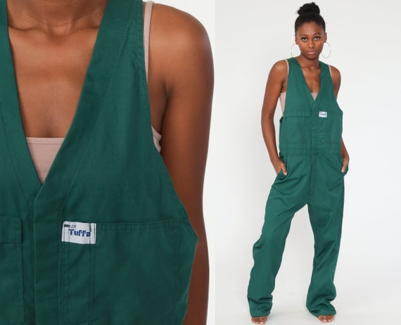 Green Overalls 90s Coveralls Tuffa Baggy Pants Normcore Long 1990s Cargo Utility Workwear Vintage Dungarees Medium Large