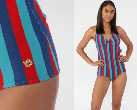 Striped Bathing Suit 70s One Piece Swimsuit Red Blue Criss Cross Backless Bathing Suit Swim Suit Vintage Pinup Retro Bohemian Pin Up Small