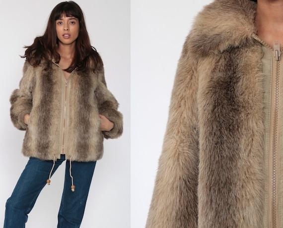 Faux Fur Coat Brown Fake Fur Jacket Vegan Vintage 80s Bohemian Jacket Boho Furry Glam Rock Fuzzy Zip Up Bohemian Winter Medium