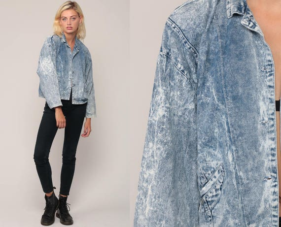 80s Denim Jacket Jean Jacket Vintage ACID WASH Grunge Jacket Trucker Button Up Light Blue 90s Hipster small