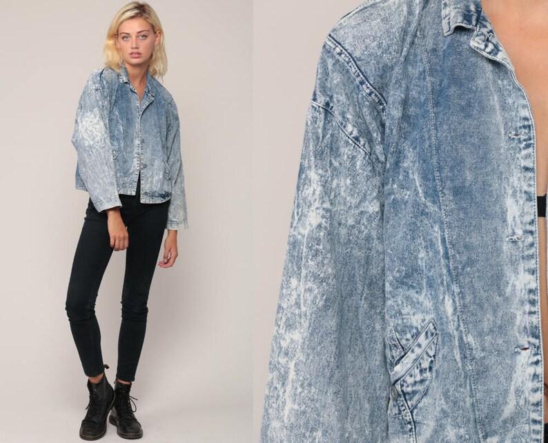 a23df765901 80s Denim Jacket Jean Jacket Vintage ACID WASH Grunge Jacket