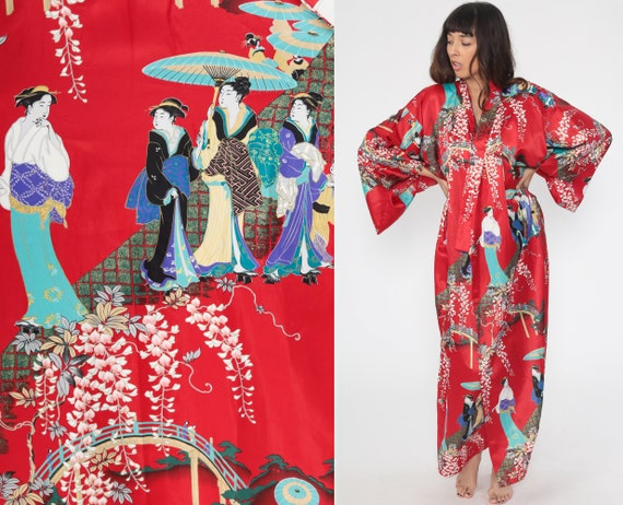Geisha Kimono Red Robe Jacket JAPANESE Maxi Bohemian Wrap Asian Cherry Blossom Satin Floral Dressing Gown Vintage Small Medium Large