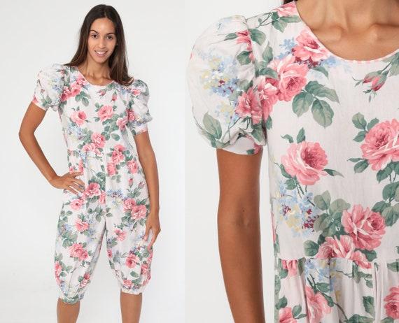 80s Floral Jumpsuit Cottagecore Puff Sleeve Pantsuit Cropped Jumpsuit Pants Vintage Romper 1980s Summer Romantic Pastel Extra Small xs