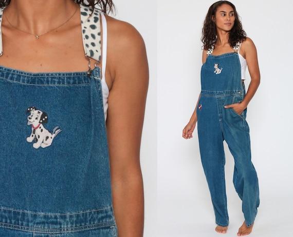 101 DALMATIANS Overalls Denim Walt Disney Dog Overall Pants 90s Grunge Jean Overalls Blue Baggy Long Cartoon Woman Vintage Carpenter Medium