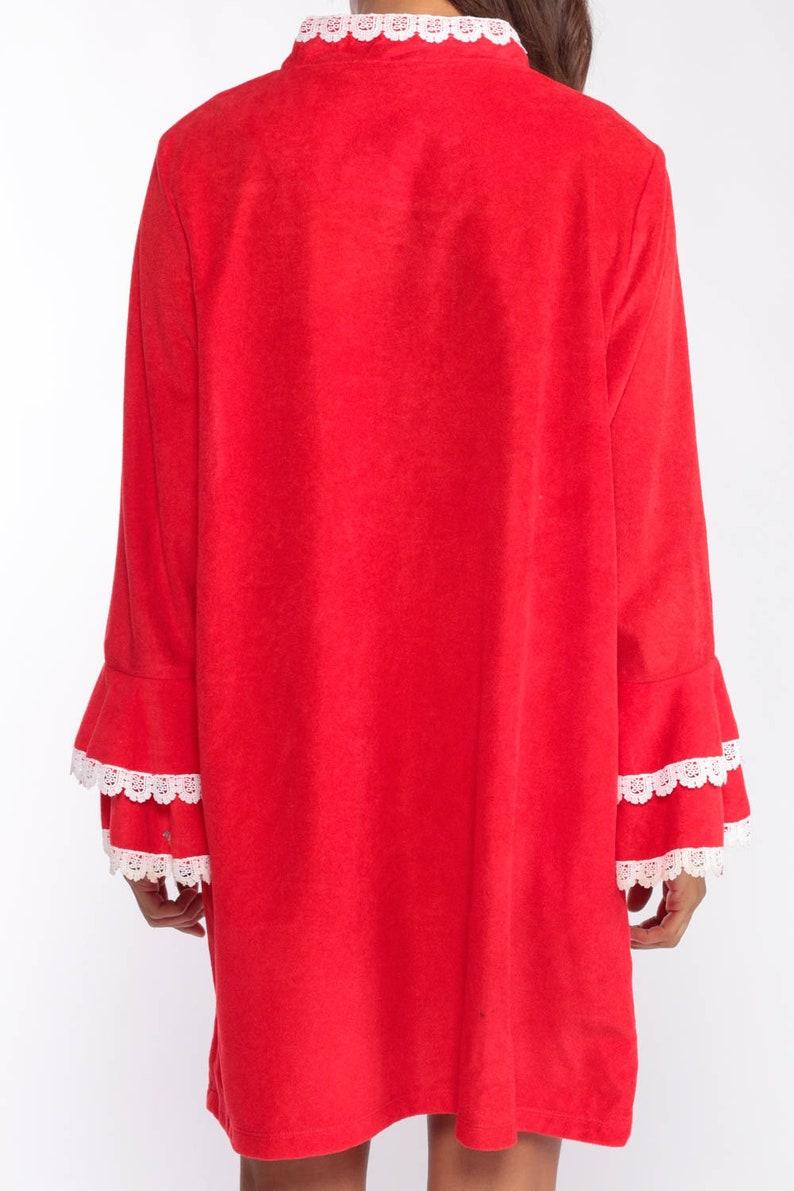 Pajama Robe Dress 70s Mini Lounge Wear Robe Red Lace Long Sleeve Loungewear Dress Tent Boho Hippie 1970s Shift Vintage Extra Large xl