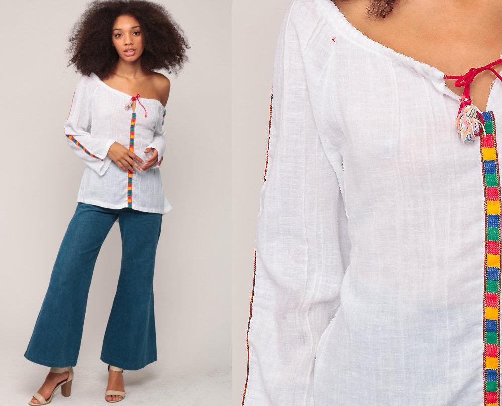Hippie Boho Blouse 70s Tunic Top Semi Sheer Shirt 1970s