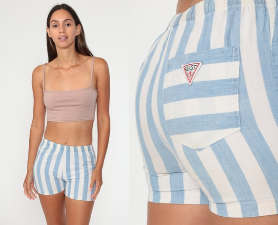 Striped Guess Shorts 2xs 80s Running Shorts White Blue High Waisted Retro Jogging Shorts Vintage 90s Elastic Waist Extra Small XXS