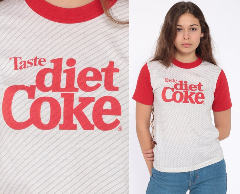 a4bc95bde03 Vintage Diet Coke Shirt 80s Ringer Tee USA Coca Cola T Shirt | Etsy
