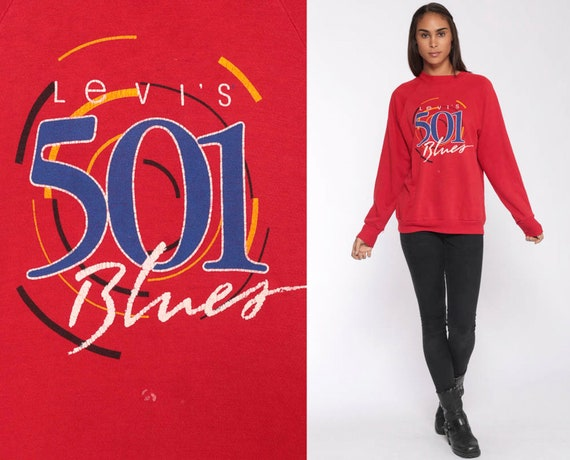 Levis Sweatshirt 80s Sweatshirt LEVI'S 501 BLUES Slouchy Streetwear Crewneck Red Levi Jeans Grunge Pullover Jumper Vintage Small Medium