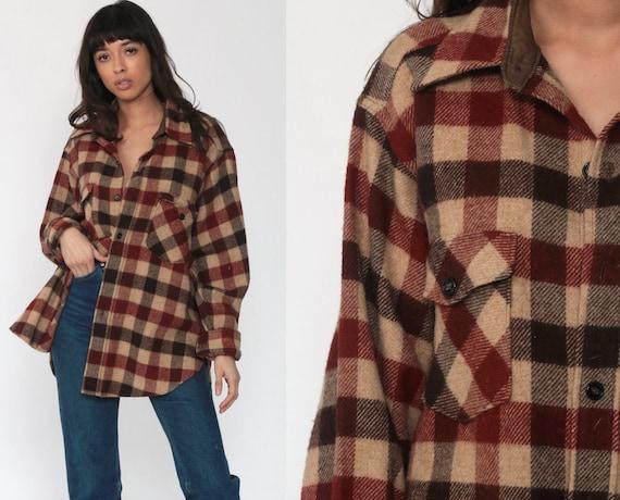 Wool Plaid Shirt Woolrich Flannel Shirt 70s Long Sleeve Buffalo Plaid Shirt Brown Tan Button Up 1970s Vintage Lumberjack Retro Men's Large