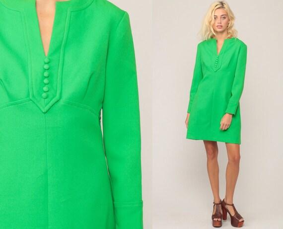 70s Mini Dress Babydoll Bohemian Mod Empire Waist Hippie Long Sleeve Green V Neck Dolly Vintage Space Age MiniDress Baby Doll Large