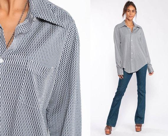 70s Disco Shirt Psychedelic Checkered Print 1970s Hippie Shirt Op Art Disco Top Button Up Navy Blue Collar Medium