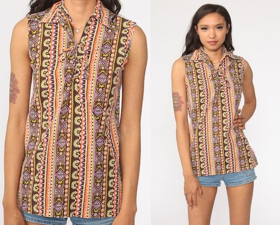 70s Cotton Gauze Striped Blouse Boho Tunic Top Hippie