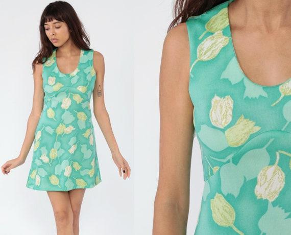 70s Mini Dress Green FLORAL Print Dress Empire Waist Boho 1970s Hippie Mod Vintage Green Beige Sleeveless Bohemian Summer Small