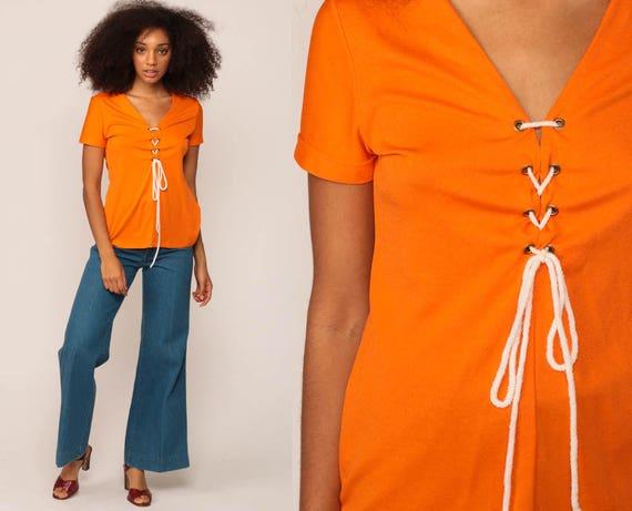 Bohemian Top CORSET Shirt Lace Up Blouse 70s Hippie Shirt Orange Festival Tshirt Boho Top 1970s V Neck Top Short Sleeve Medium