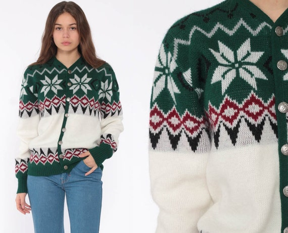 Fair Isle Cardigan Sweater 80s Orlon Sweater Boho Norwegian Button Up 70s Nordic Sweater Bohemian Vintage Green Bohemian Small