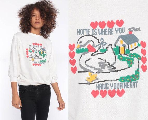 Kawaii Sweatshirt 80s HOME IS Where You Hang Your Heart Print GOOSE Shirt 90s White Crewneck Extra Small xs