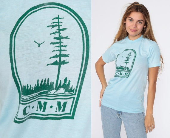 Tree Shirt CMM Shirt 80s Tshirt Hiking Nature Shirt Single Stitch Baby Blue Faded Paper Thin Graphic T Shirt Vintage 1980s Small