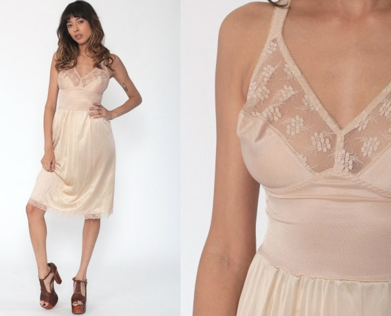 Beige Slip Dress 70s Midi Lingerie Nightgown Lace Slip Fitted NUDE Slip 1970s Vintage Boho Empire Waist Tight Bohemian Small B C
