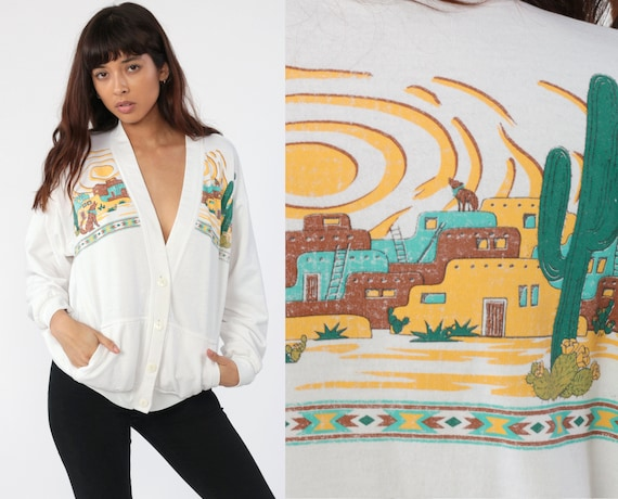 Southwest Cardigan Sweatshirt 80s Saguaro Cactus Shirt Coyote Southwestern Print Sweater Boho 90s Vintage Bohemian Button Up Small Medium